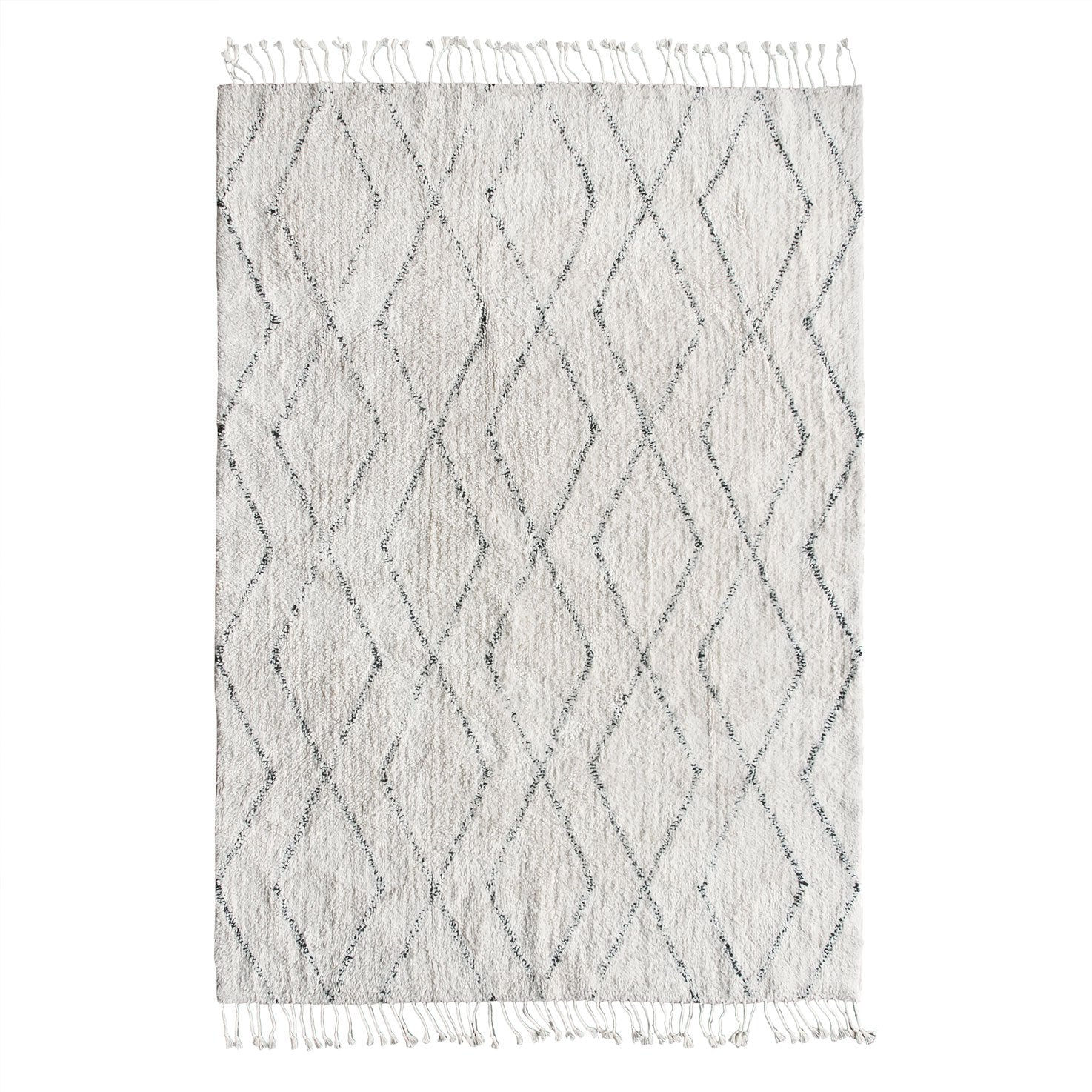 HK Living cotton berber rug soft cream and black