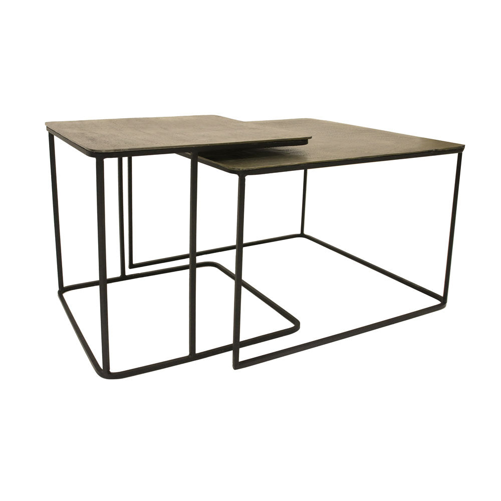 Brass and metal nesting side table HK Living