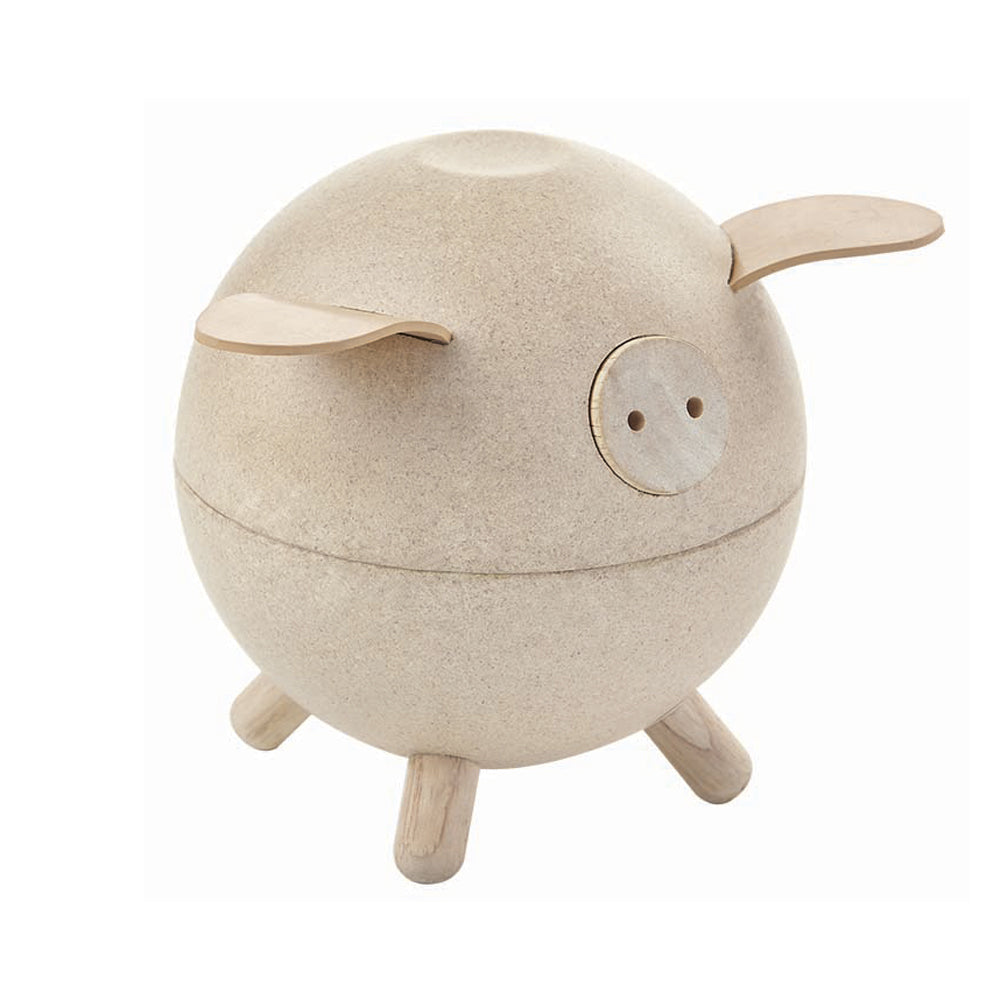 Plan Toys Piggy Bank White natural rubber wood