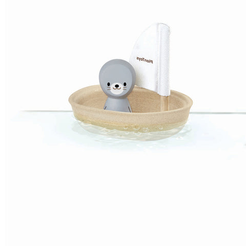 Plan Toys Sailing boat Seal White natural rubber wood bath toy