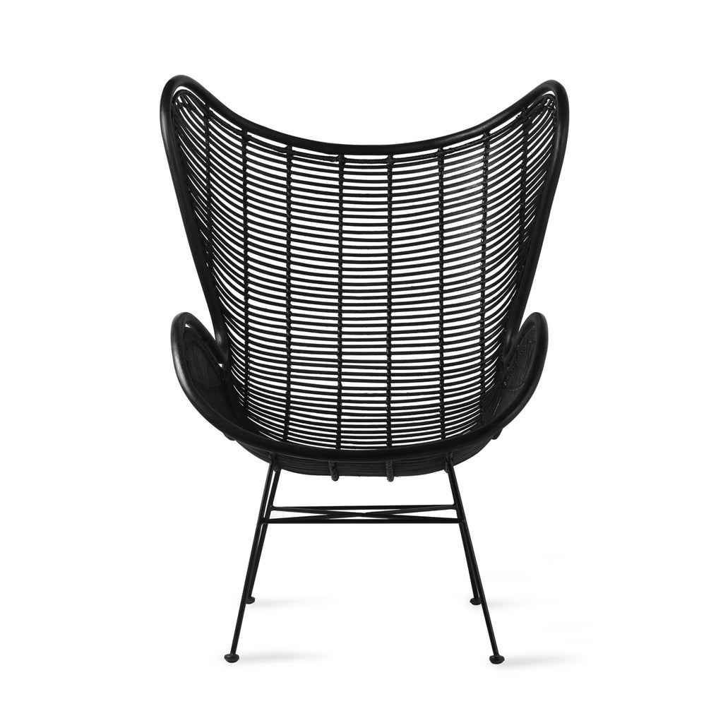 HK Living rattan egg chair black