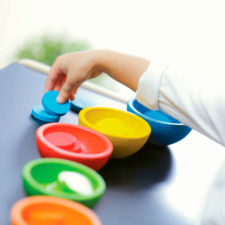 Pan toys Sort and Count Cups Montessori colour matching game