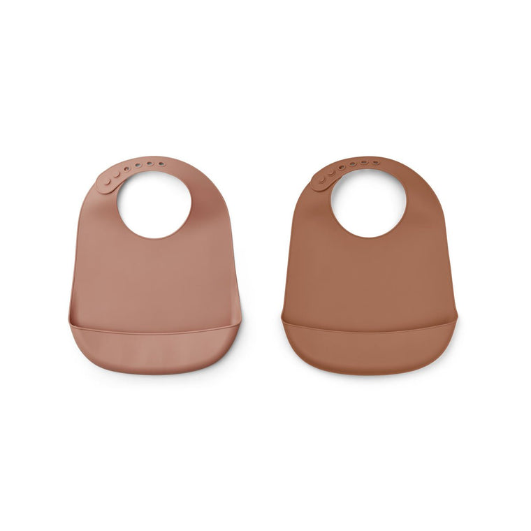 Tilda Silicone Bib 2 Pack - Dark rose/terracotta mix