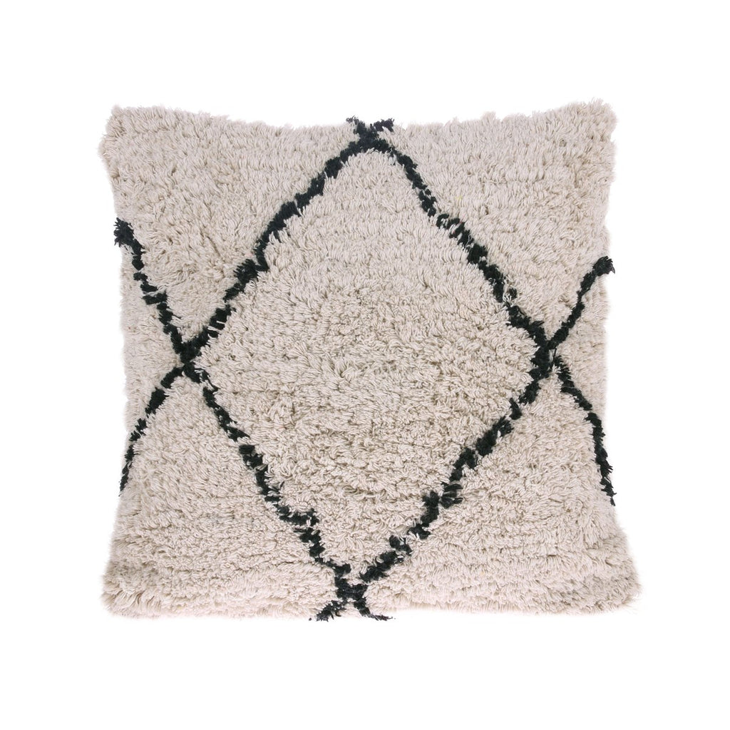 HK Living Bohemian cotton diamond cushion Black and White