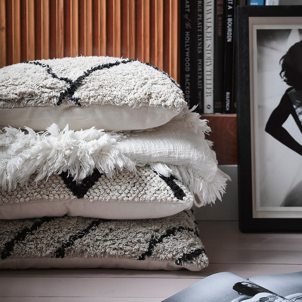 HK Living cotton Bohemian zigzag cushion Black and White