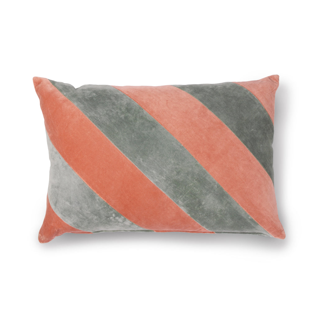 HK Living Striped cushion grey and pink velvet 40x60