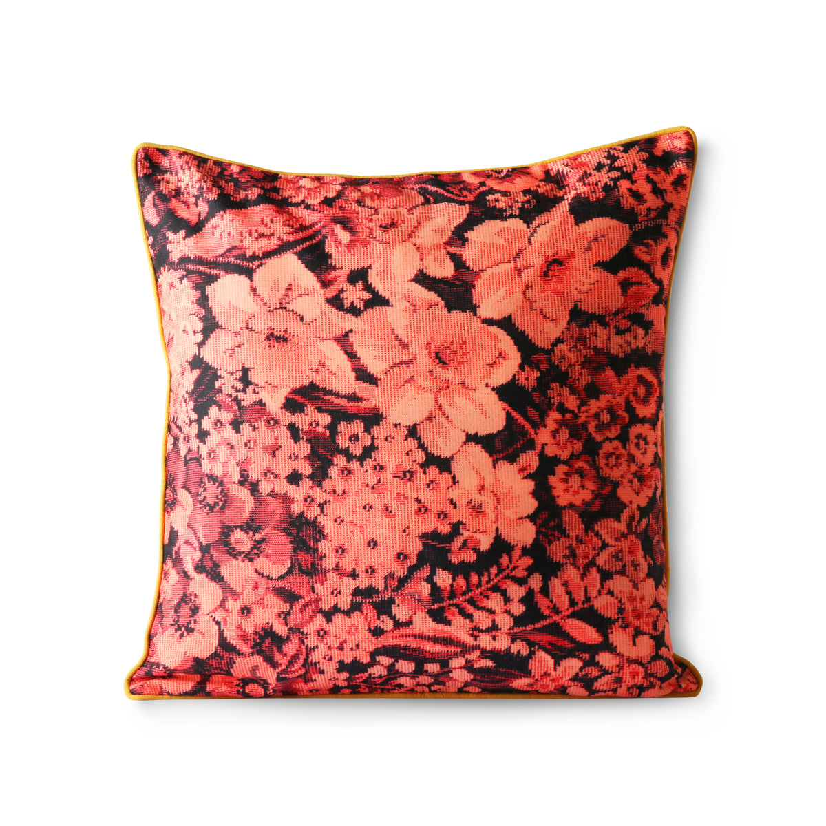 HK Living printed floral cushion coral/black