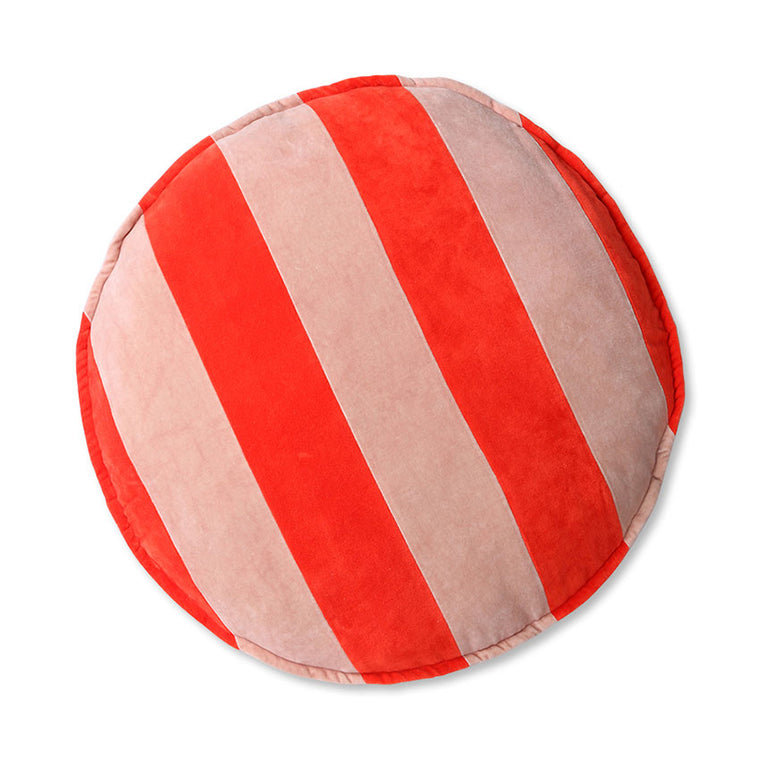 striped velvet seat cushion round red/pink (ø60)