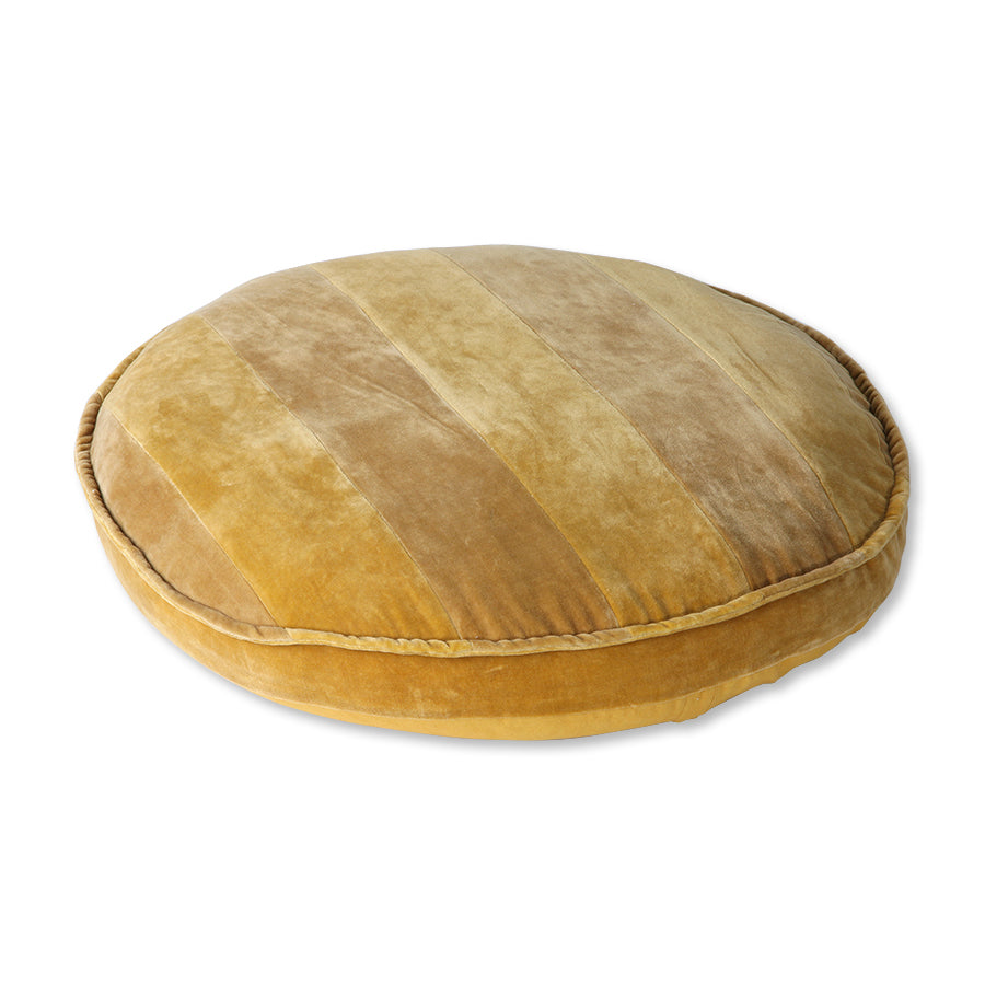 HK Living striped velvet seat cushion round ochre/gold (ø60)