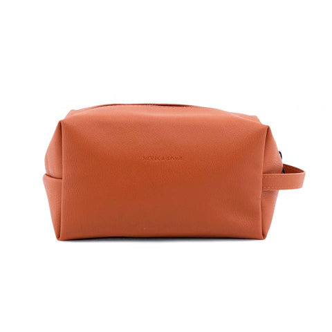 Toiletry bag | burnt orange Monk and Anna PU Leather vegan wash bag