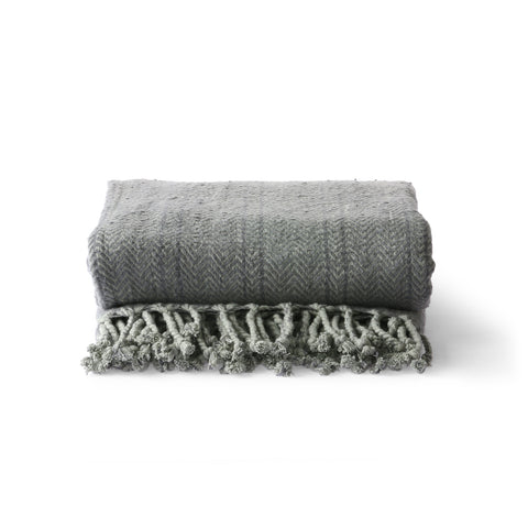 HK Living brushed cotton throw grey/purple (130x170)