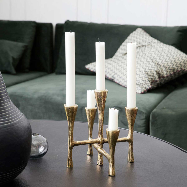 5 candle holder in gold Aluminium from house doctor tristy