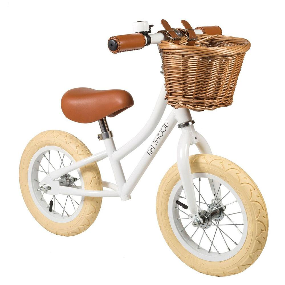 White Banwood first go balance bike with basket