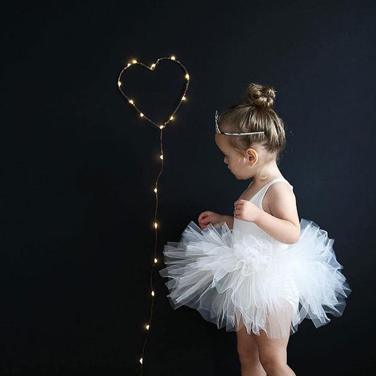 I love Plum tutu in white Lucy blackboard behind with fairy lights heart