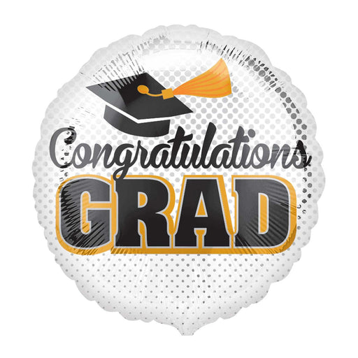 "18"" Foil Congrats Grad Round White Balloon - The Ultimate Party Shop"