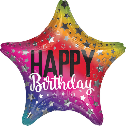"18"" Foil Happy Birthday Star Glitz - The Ultimate Balloon & Party Shop"