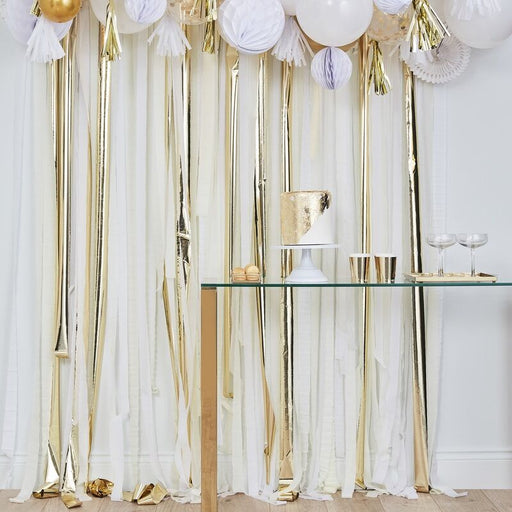 Crepe Streamer Backdrop - White, Cream & Gold - The Ultimate Balloon & Party Shop