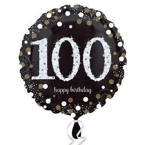 "18"" Foil Age 100 Black/Gold Dots Balloon"
