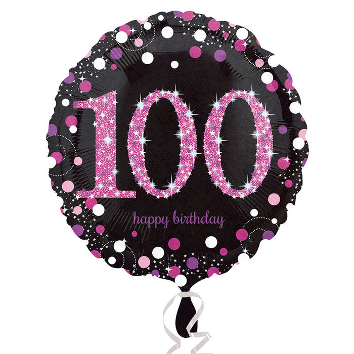 "18"" Foil Age 100 Black/Pink Dots Balloon"