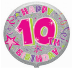 "18"" Foil Age 10 Pink Balloon. - The Ultimate Party Shop"