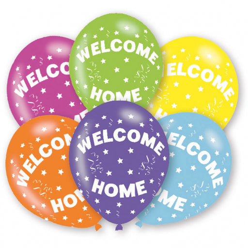 Welcome Home Printed Asst Colour Balloons 6 Pack - The Ultimate Party Shop