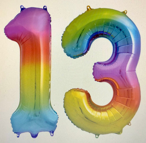 Age 13 Number Foil Balloons - The Ultimate Balloon & Party Shop