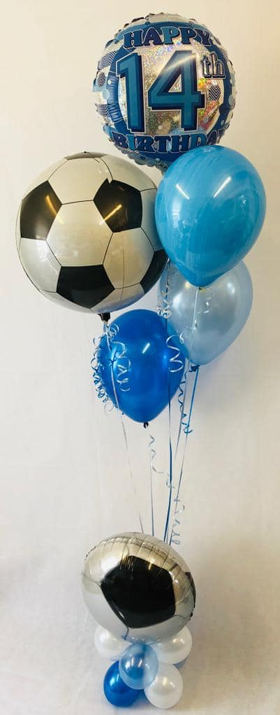 Football with age balloon display - The Ultimate Balloon & Party Shop