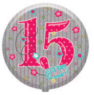 "18"" Foil Age 15 Girls Balloon - The Ultimate Party Shop"