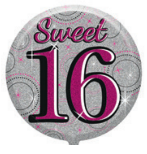 "18"" Foil Age Sweet 16 Balloon - The Ultimate Party Shop"