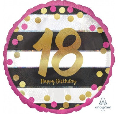 "18"" Foil Age 18 Pink Dots and stripes Balloon. - The Ultimate Party Shop"