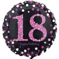 "18"" Foil Age 18 Black/Pink Dots Balloon. - The Ultimate Party Shop"