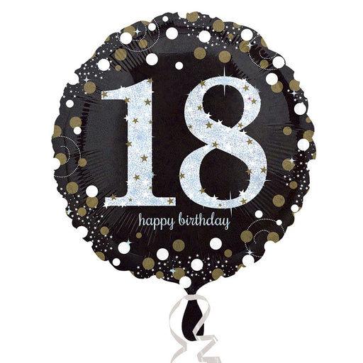 "18"" Foil Age 18 Black/Gold Dots Balloon. - The Ultimate Party Shop"