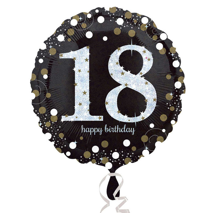 "18"" Foil Age 18 Black/Gold Dots Balloon - The Ultimate Balloon & Party Shop"