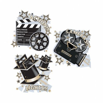 Hollywood, Lights, Camera, Action Card Cutouts