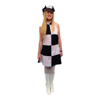 1960s/1970s Dress Hire Costume - Black & White Squares - The Ultimate Party Shop