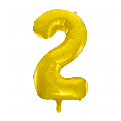Number 2 Foil Balloon Gold