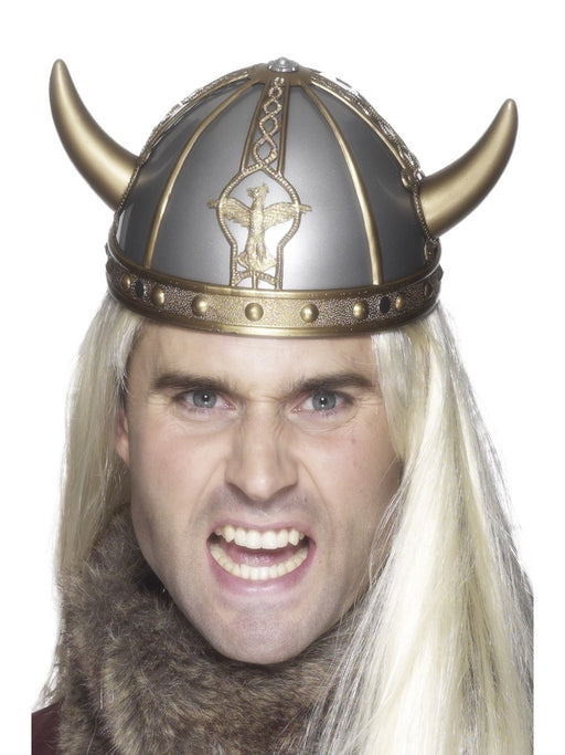 Silver Viking Hat W/Horns