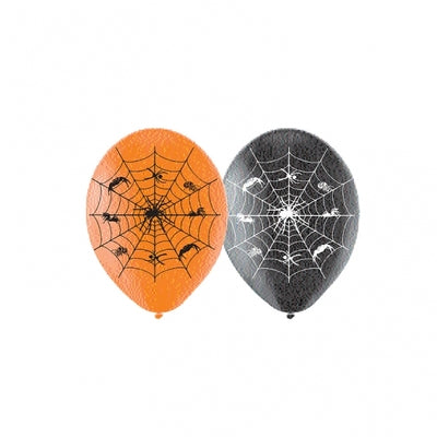 Orange & Black Spider Web Halloween Balloons