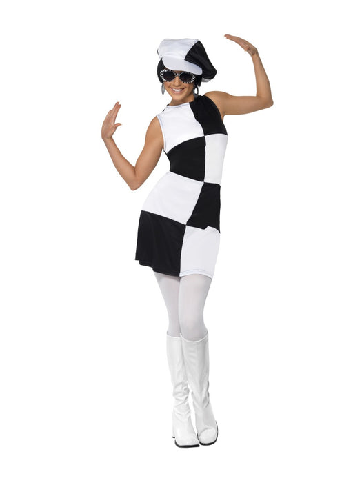 1960's Party Girl Black/White Costume - The Ultimate Balloon & Party Shop