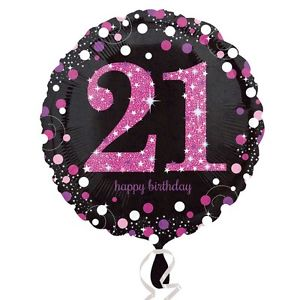 "18"" Foil Age 21 Black/Pink Dots Balloon"