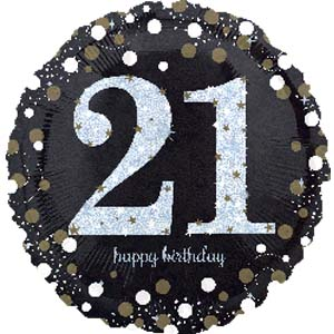 "18"" Foil Age 21 Black/Gold Dots Balloon - The Ultimate Party Shop"