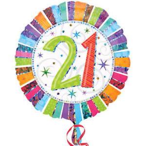 "18"" Foil Age 21 Rainbow Balloon - The Ultimate Party Shop"