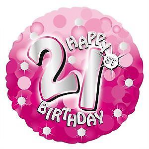 "18"" Foil Age 21 Pink Sparkle Balloon - The Ultimate Party Shop"