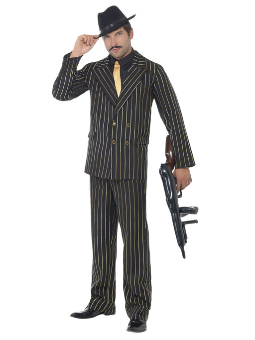 1920's Gangster Gold Pinstripe Costume - The Ultimate Party Shop