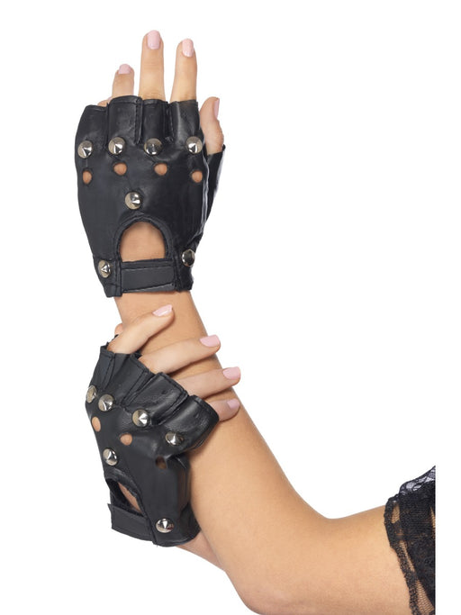 Black Studded Punk Gloves