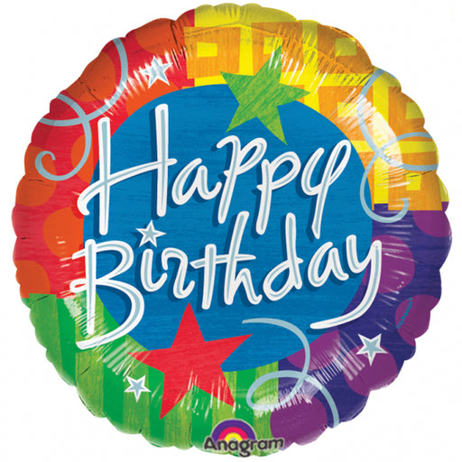 "18"" Foil Happy Birthday Bright Design - The Ultimate Party Shop"