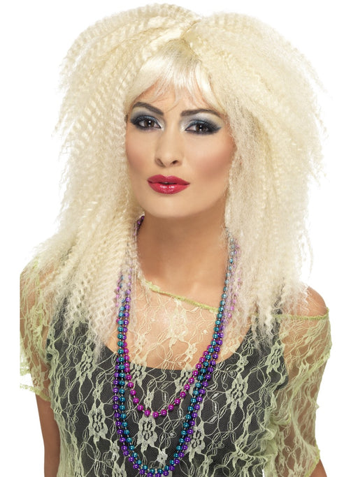 1980's Trademark Crimp Blonde Wig - The Ultimate Party Shop