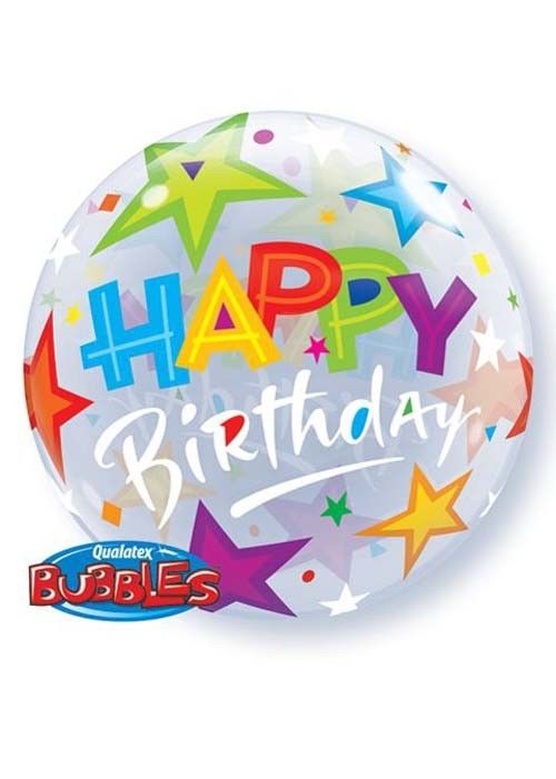 Qualatex Happy Birthday Bubble Balloon -  Bright - The Ultimate Party Shop