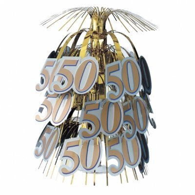 50th Birthday or 50th Golden Anniversary Cascade Centrepiece - The Ultimate Party Shop