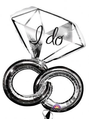 "30"" Foil I Do Wedding Rings Large Printed Balloon"